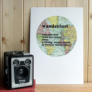 'Wanderlust' Definition Typographic Map Print