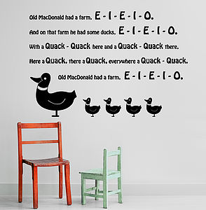 'Old MacDonald Had Some Ducks' Wall Sticker - wall stickers