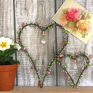 Green & Pink Mix Beady Hearts - hanging decorations