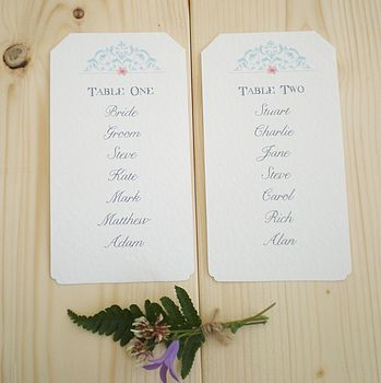 Table Plan Blue Lace