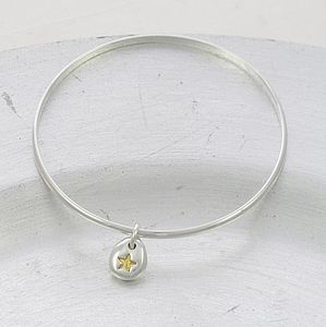 Gold Star Silver Beanie Charm Bangle