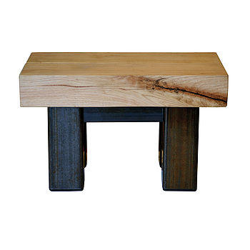 Oak And Iron Two Foot Coffee Table