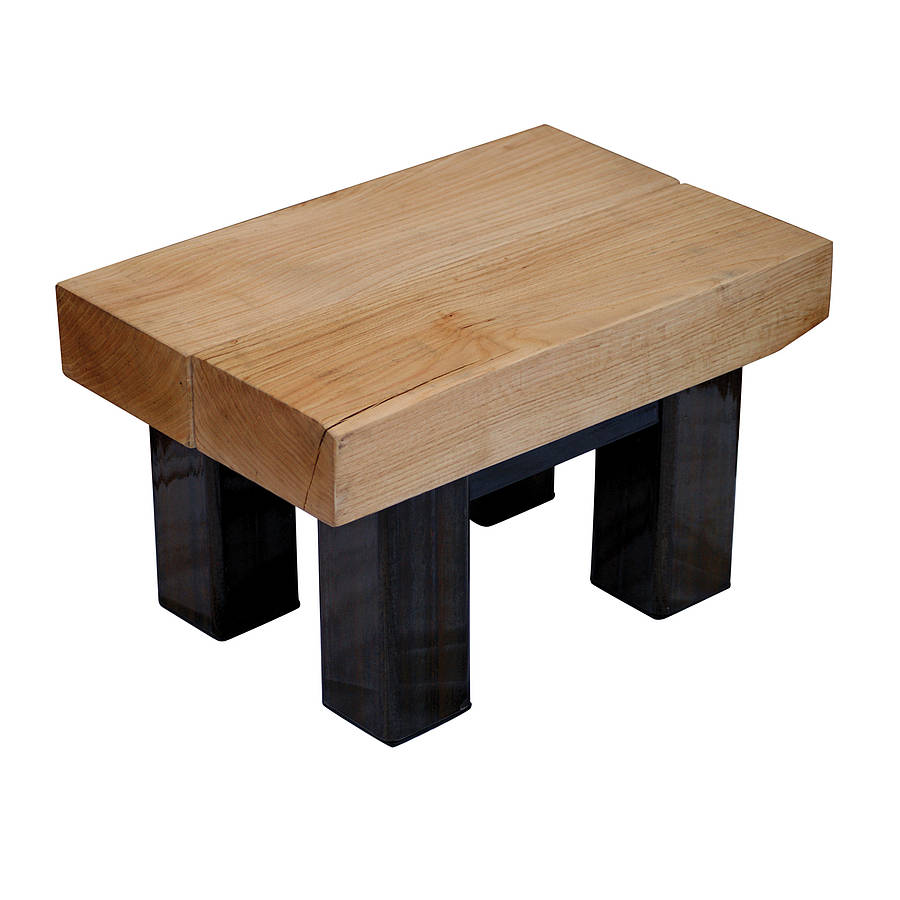Oak And Iron Small Coffee Table
