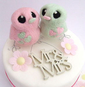 Pastel Bird Wedding Cake Topper