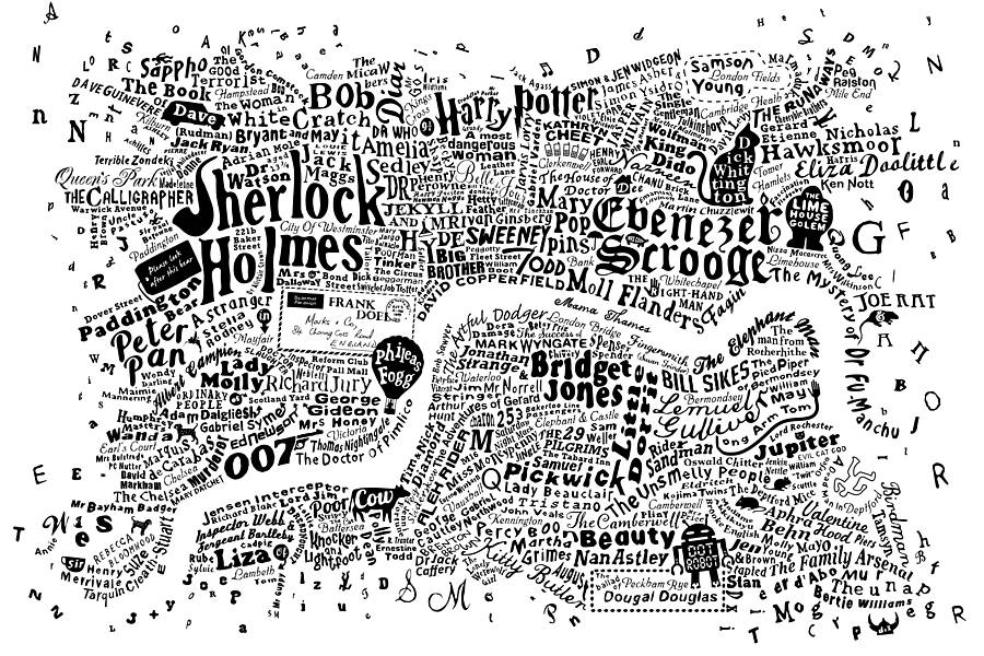 Literary Central London Map Art Print By Run For The Hills