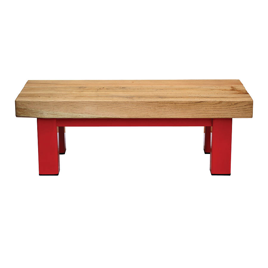Oak and iron long coffee table by oak iron furniture for Long coffee table