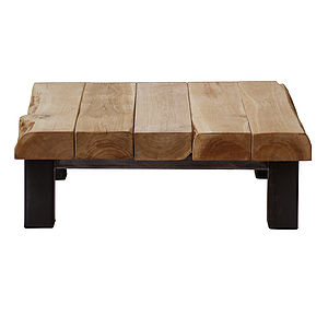Oak And Iron Large Square Coffee Table - coffee tables