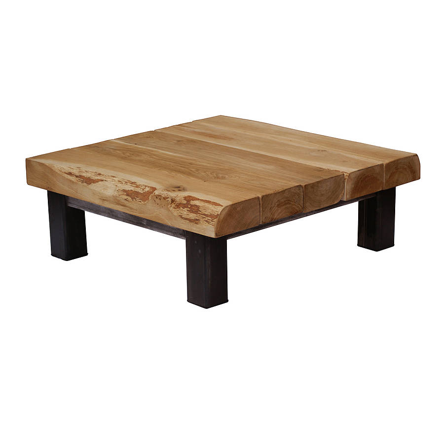 Oak and iron large square coffee table by oak iron for Large wood coffee table square