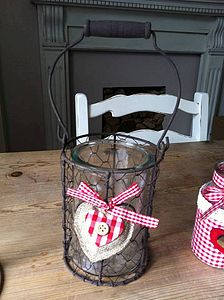 Rustic Heart Storm Lantern - candles & candlesticks