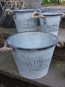 Set Three Zinc Flower Planters - pots