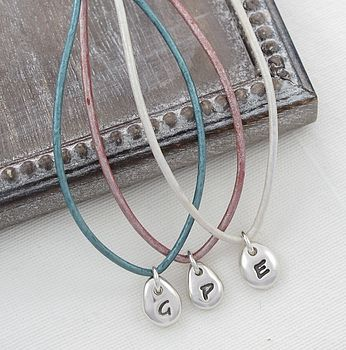 Personalised Initial Beanie Leather Necklace