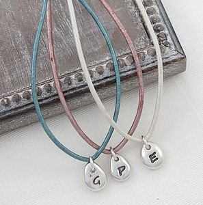 Personalised Initial Beanie Leather Necklace - children's jewellery