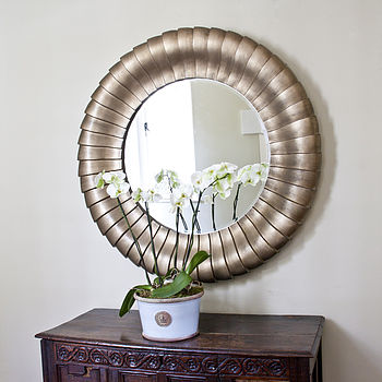 Antique Bronze Round Mirror