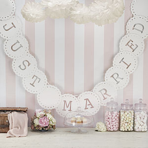 Lace Style 'Just Married' Bunting In Ivory - outdoor decorations