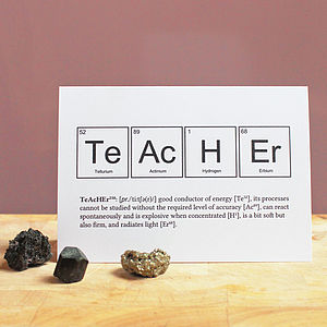 Teacher Periodic Table Humourous Card - gifts for teachers