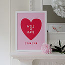 Personalised Wedding Heart Name Print
