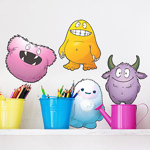 Cute Monster Vinyl Sticker Set - decorative accessories