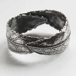 Handmade Woodland Unisex Silver Leaf Ring - men's sale