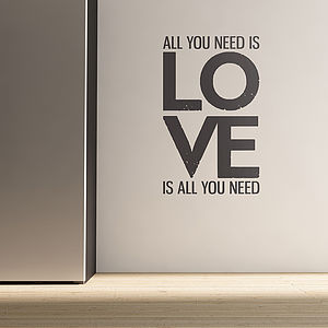 All You Need Is Love Quote Wall Stickers - wall stickers