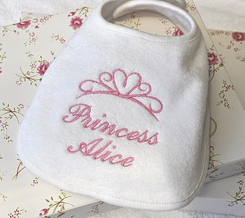 Princess Personalised Embroidered Bib