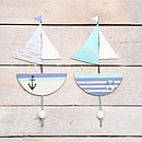 Seaside Blue Yacht Boat Wall Hooks