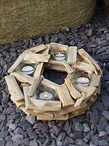 Circular Driftwood Candle Holder - lights & candles