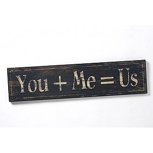 'You + Me = Us' Wooden Sign - ornaments