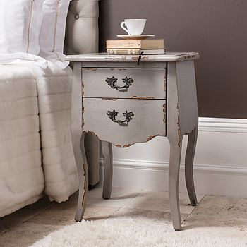 Taupe French Style Bedside Chest