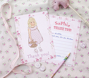 Personalised Girl's Thank You Notecards - cards
