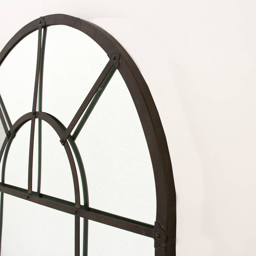 Metal arch mirror by decorative mirrors online for Metal frame mirror