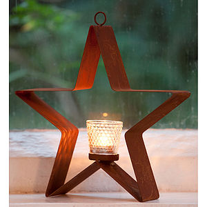 Hanging Star Tea Light Holder With Votive - table decorations