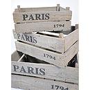 Wooden Grey Wash 'Paris' Storage Crate