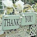 Vintage duck egg 'Thank you' signs