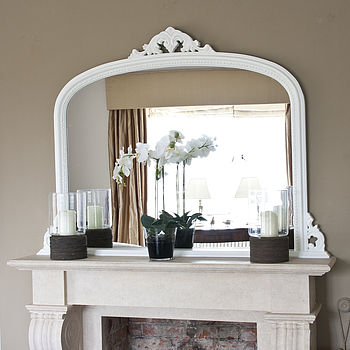 White Beaded Edge Overmantel Fireplace Mirror