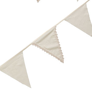 Vintage Lace Ivory Cotton Bunting - room decorations