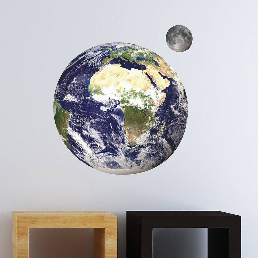 earth and moon wall stickers by the binary box. Black Bedroom Furniture Sets. Home Design Ideas