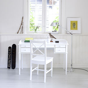 White Scandanavian Desk Or Dressing Table - bedroom