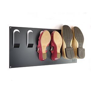 Stylish Wall Mounted Shoe Rack - hooks, pegs & clips