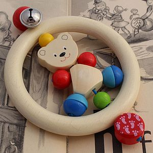 Wooden Baby Rattle With Friendly Bear - traditional toys & games