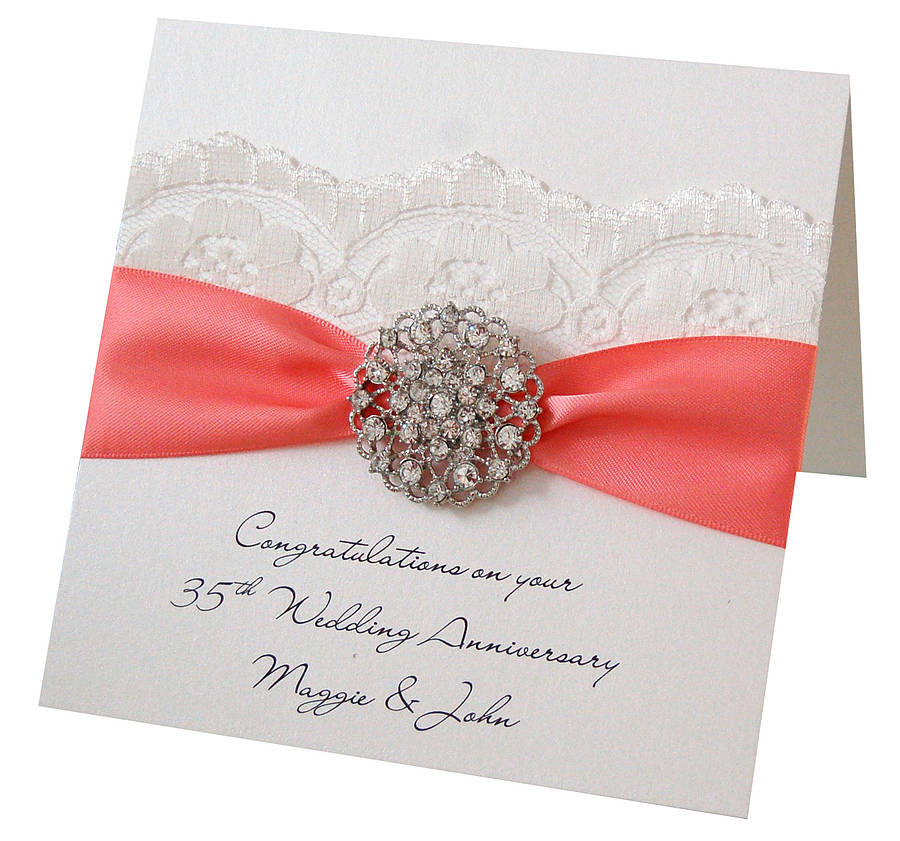 Opulence coral wedding personalised anniversary card by