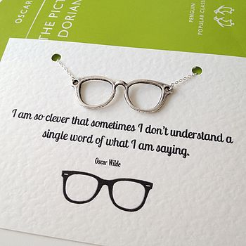 Oscar Wilde Geek Glasses Necklace
