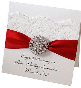 Opulence Ruby Wedding Anniversary Card - anniversary cards