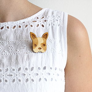 Wooden French Bulldog Brooch - more