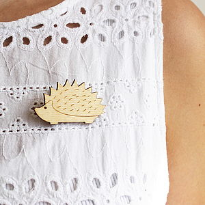 Wooden Hedgehog Brooch