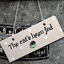 Wooden Sign 'The Cat's Been Fed'
