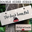 Wooden Sign 'The Dog's Been Fed'