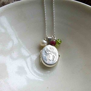 Vintage Silver Locket & Birthstone Necklace - women's jewellery