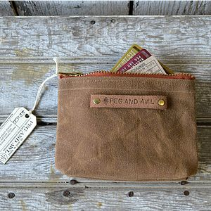 Brown Waxed Canvas Pouch - bags & purses