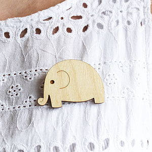 Wooden Elephant Brooch - pins & brooches