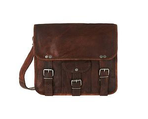 Midi Leather Satchel With Front Pocket